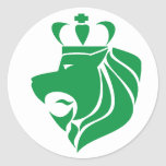 Rasta Reggae Crowned Lion Green Round Sticker