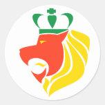 Rasta Reggae Crowned Lion Round Sticker