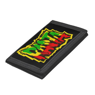 Rasta reggae graffiti tri-fold wallets
