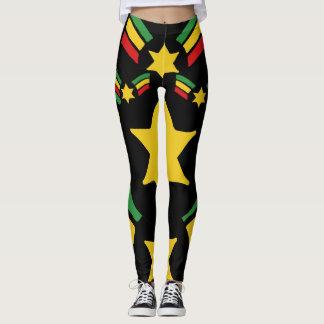 Rasta Reggae Leggings Military Stars Design