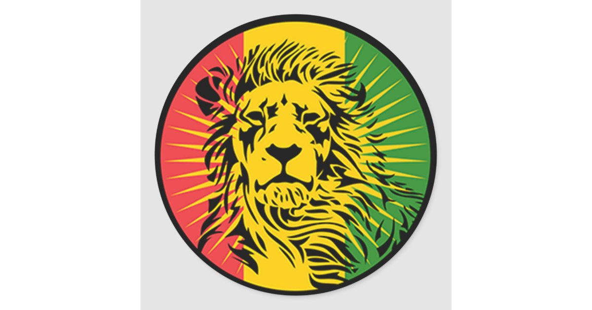 Rasta reggae lion flag classic round sticker zazzle ca