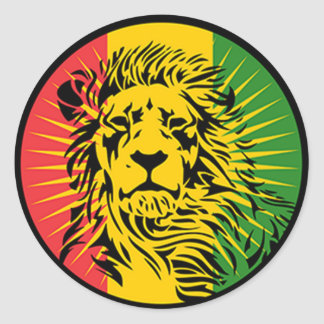 rasta reggae lion flag round sticker