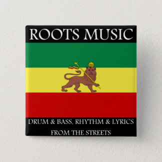 Rasta - Roots Music Ethiopia Flag Lion of Judah 2 Inch Square Button