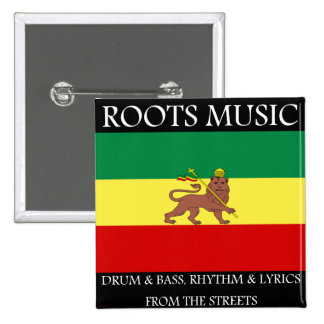 Rasta - Roots Music Ethiopia Flag Lion of Judah 2 Inch Square Button
