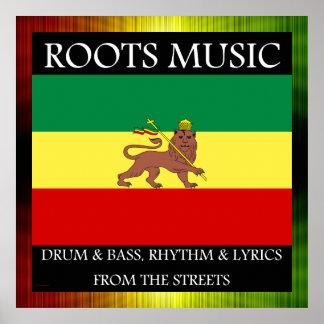 Rasta - Roots Music Ethiopia Flag Poster
