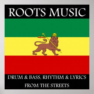 Rasta - Roots Music Ethiopia Flag Print on Canvas