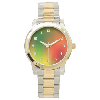 Rasta Splash of Color White Numbers Watch