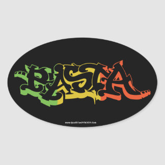 Rasta Sticker Oval Black Colored