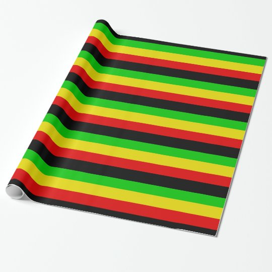Rasta Stripes with Black Wrapping Paper