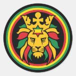 Rastafari Dreadlocks Lion of Judah Round Sticker