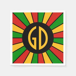RASTAFARI FLAG BUTTON RAYS + your sign or monogram Disposable Napkin