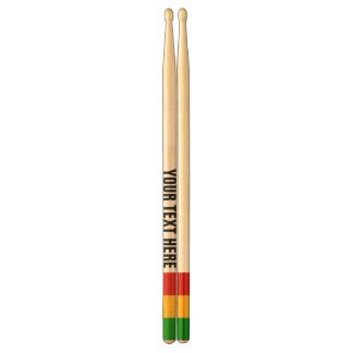 RASTAFARI FLAG COLORS + your text Drumsticks