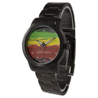 Rastafarian Paint Stripes Custom Name Watch