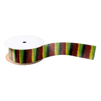 Rastafarian Paint Stripes Satin Ribbon