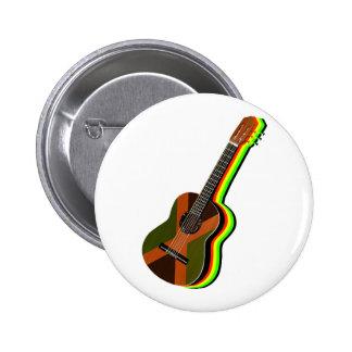 Rastafarian Reggae Guitar Jamaica 2 Inch Round Button