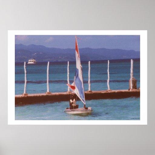 Rastaman in a Sailboat, Montego Bay Jamaica Print