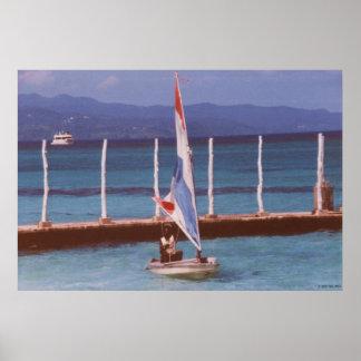 Rastaman in a Sailboat, Montego Bay Jamaica Poster