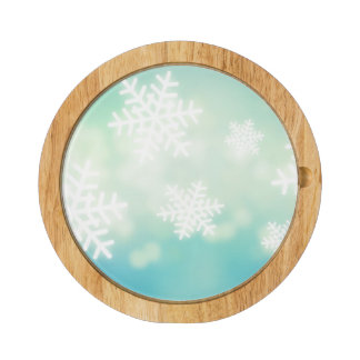 Raster illustration of glowing snowflakes rectangular cheeseboard