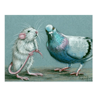 Rat and Pigeon Postcard