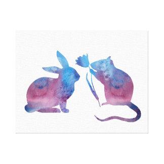 Rat and rabbit canvas print