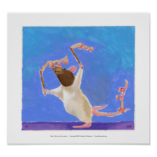 Rat art fun ribbon dancing - Rhythmic Gymnastics Poster