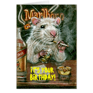 Rat bad habits smoking drinking Card