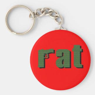 Rat Basic Round Button Keychain