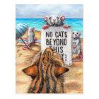Rat Cat Beach 'No Cats' Sign Postcard