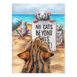 Rat Cat Beach 'No Cats' Sign Postcard
