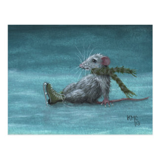 Rat fell while ice skating postcard