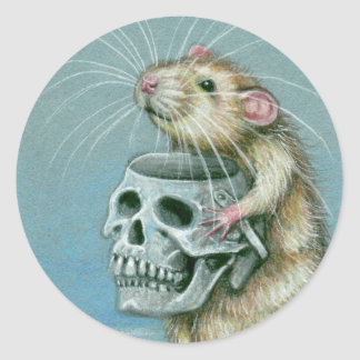 Rat Halloween Skull Basket Stickers