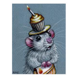 Rat in Cupcake Hat Postcard