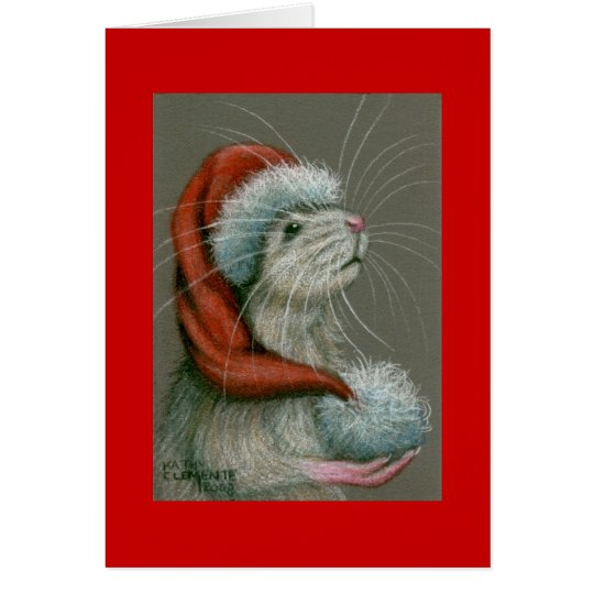 Rat in Santa Hat Christmas Card