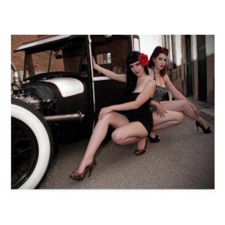 Rat Rod Hotties Pin Up Hot Rod Alley Girls Postcard