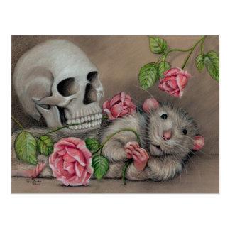 Rat Rose Skull Postcard drawing