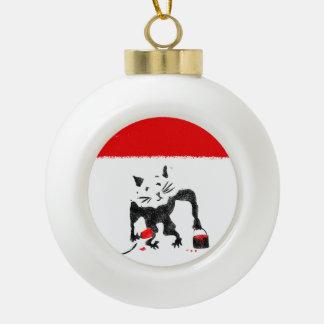 Rat Stencil Street Art Ceramic Ball Ornament