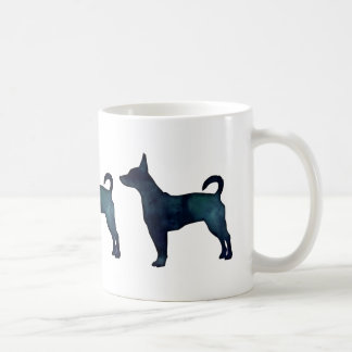 Rat Terrier Black Watercolor Silhouette Coffee Mug