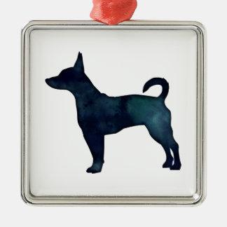 Rat Terrier Black Watercolor Silhouette Metal Ornament
