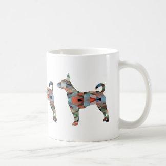 Rat Terrier Colorful Geometric Pattern Silhouette Coffee Mug