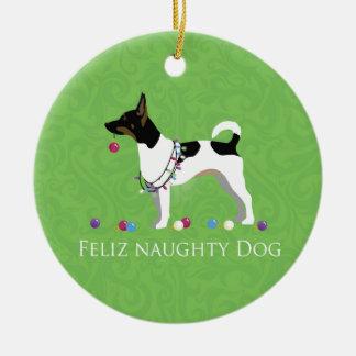 Rat Terrier Feliz Naughty Dog Christmas Round Ceramic Ornament