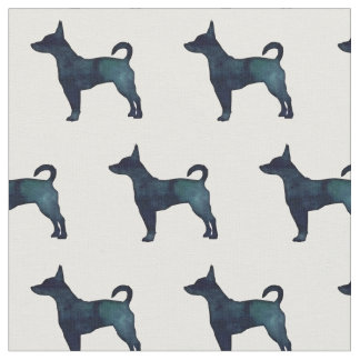 Rat Terrier Silhouette Tiled - Black Watercolor Fabric