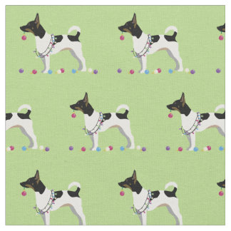 Rat Terrier Silhouette Tiled - Christmas Fabric