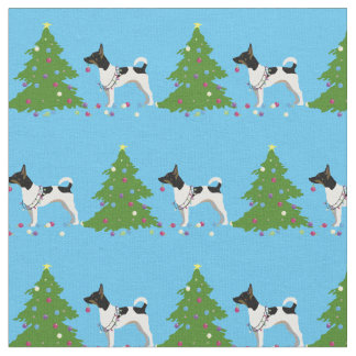 Rat Terrier Silhouette Tiled - Christmas Forest Fabric
