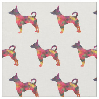 Rat Terrier Silhouette Tiled - Multi Fabric
