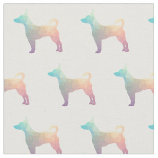 Rat Terrier Silhouette Tiled - Pastel Fabric