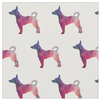 Rat Terrier Silhouette Tiled - Pink and Purple Fabric