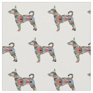 Rat Terrier Silhouette Tiled - Plaid Fabric