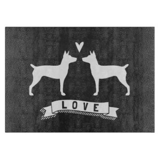 Rat Terrier Silhouettes Love Cutting Board