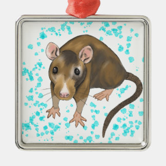 Rat Watercolour Metal Ornament
