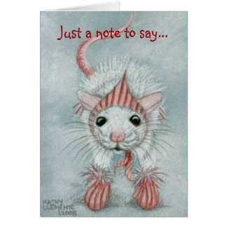 Rat wearing Babushka & Mittens, Note Card